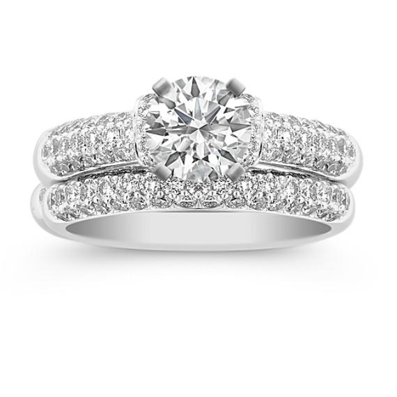 Triple Row Round Diamond Wedding Set in Platinum
