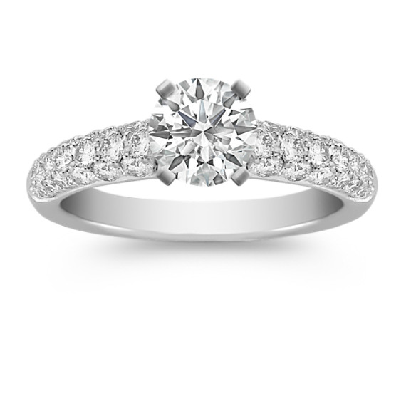 Classic Pavé-Set Round Diamond Engagement Ring