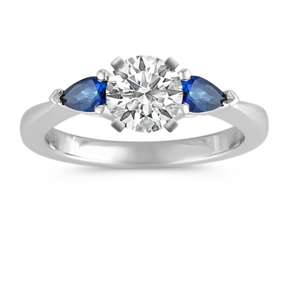 Three-Stone Pear-Shaped Sapphire Engagement Ring