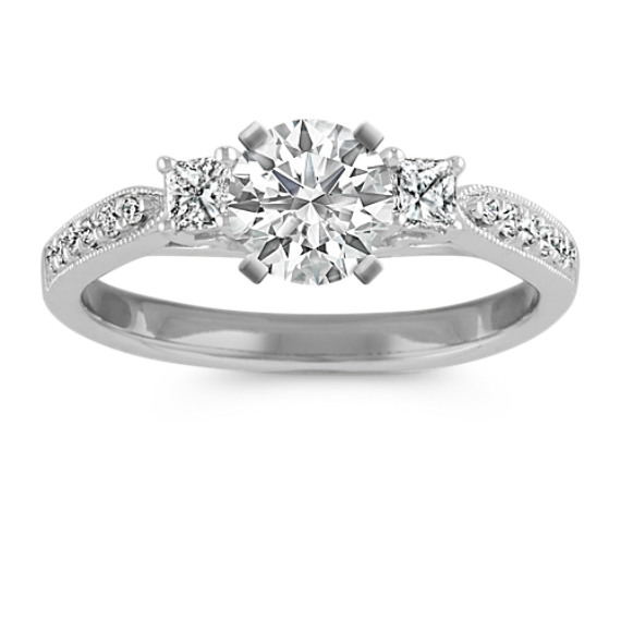 Three-Stone Princess Cut and Round Diamond Engagement Ring