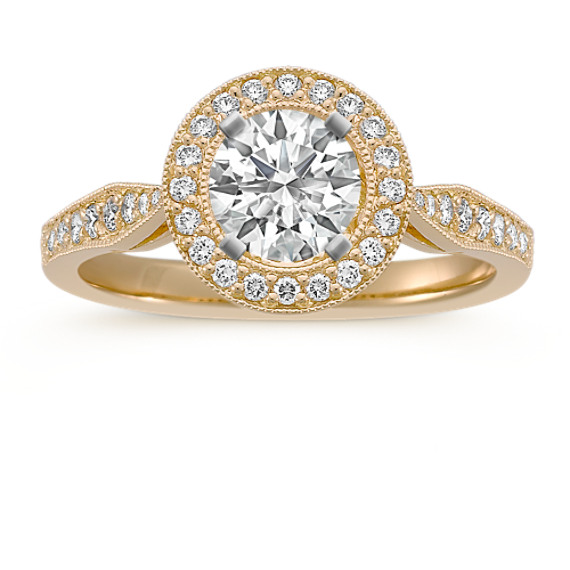 Halo Diamond 18k Gold Engagement Ring