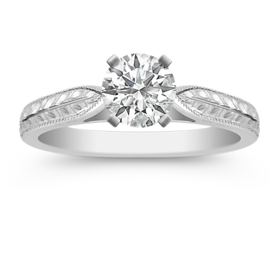 14k White Gold Engraved Engagement Ring