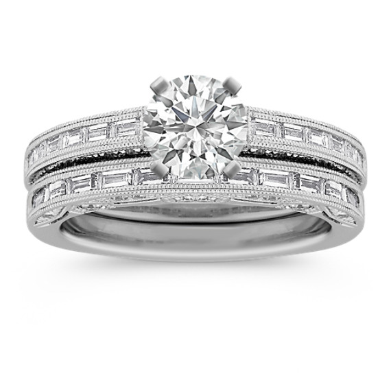 Vintage Baguette and Round Diamond Platinum Engagement Ring