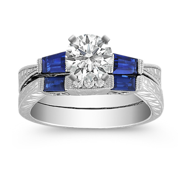 Vintage Baguette Sapphire and Diamond Wedding Set with Channel Setting