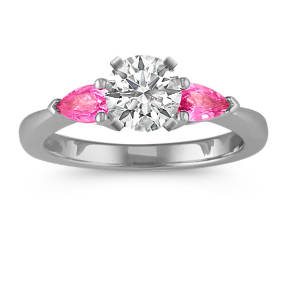 Three-Stone Pear-Shaped Pink Sapphire Engagement Ring