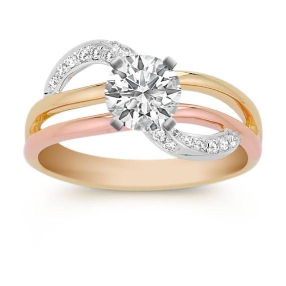 Round Diamond Ring in Tri-Tone Gold