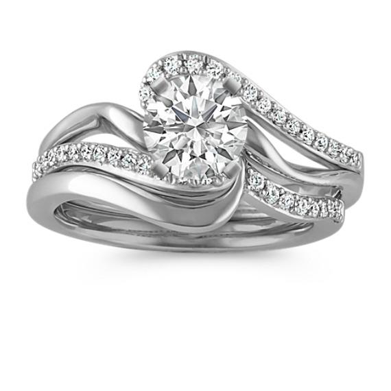 Round Diamond Swirl Wedding Set