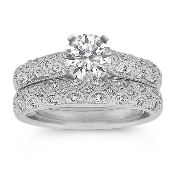 Round Diamond Vintage Wedding Set with Pavé-Setting