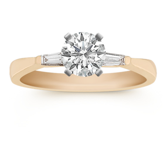 Three-Stone Baguette Diamond Engagement Ring with Channel Setting