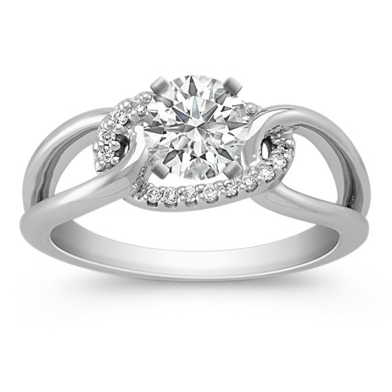 Link and Round Diamond Ring