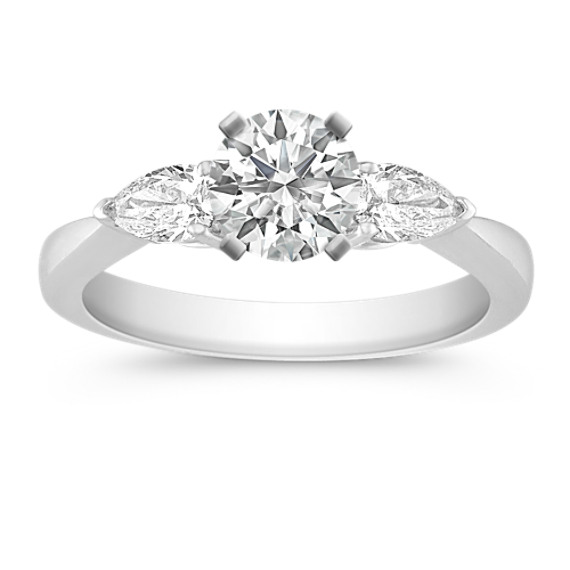 Three-Stone Pear-Shaped Diamond Engagement Ring
