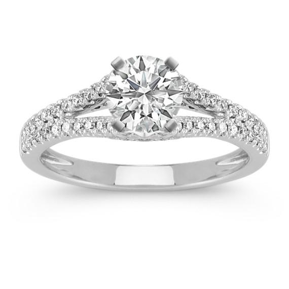 Diamond Split Shank Engagement Ring with Pavé Setting