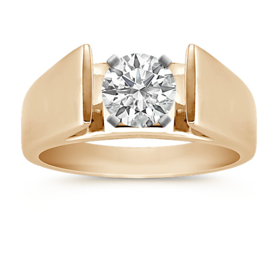 14k Yellow Gold Wide Cathedral Engagement Ring