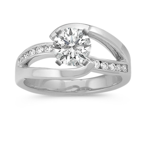 Swirl Diamond Engagement Ring with Channel-Setting
