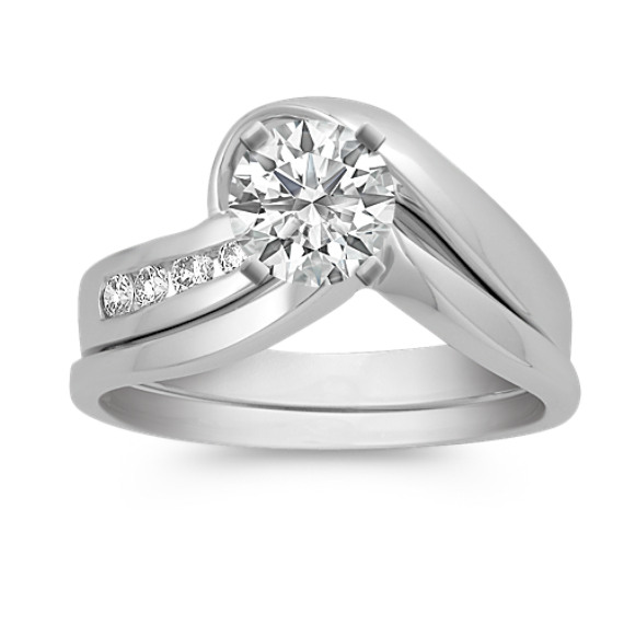 Round Diamond Wedding Set with Channel-Setting