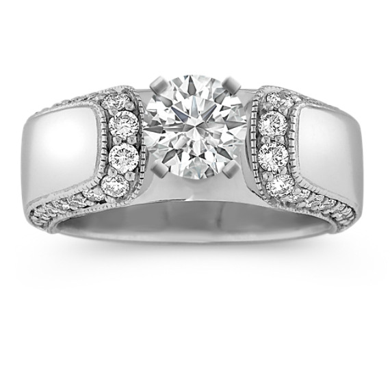 Cathedral Round Diamond Engagement Ring with  Pavé-Setting
