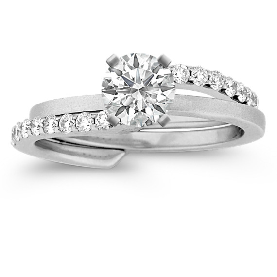 Swirl Diamond Wedding Set with Pavé Setting and Brush Finish