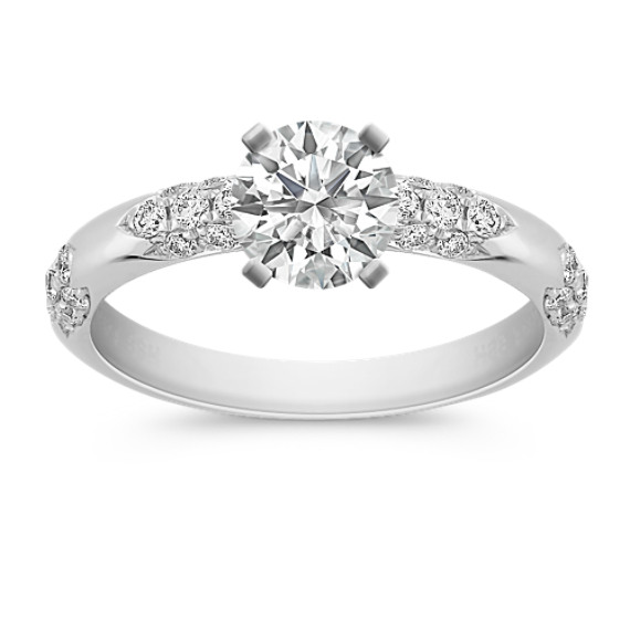 Clustered Round Diamond Engagement Ring