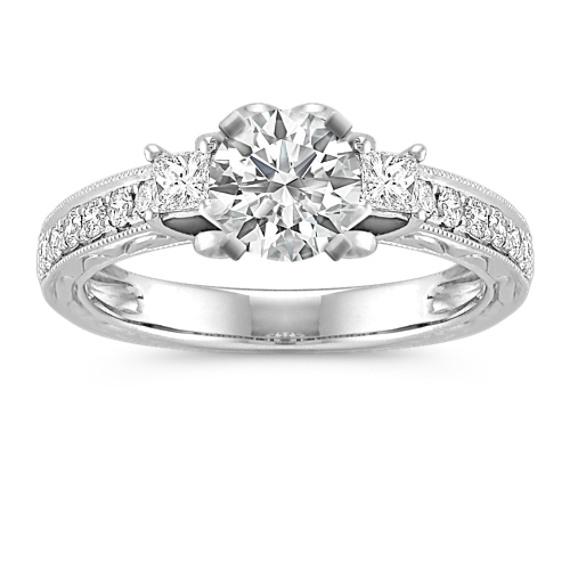 princess cut diamond engagement ring with pav setting - Princess Cut Diamond Wedding Rings