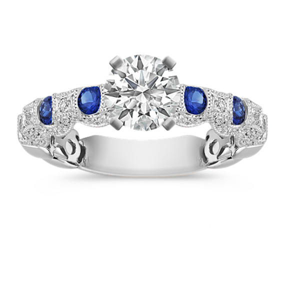 Round Sapphire and Diamond Engagement Ring