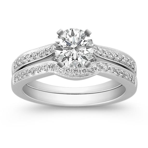Pavé Set Round Diamond Wedding Set