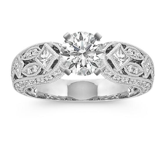 Bezel-Set Princess Cut and Round Diamond Engagement Ring