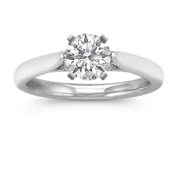 Bezel Set Side Diamond Accented Engagement Ring