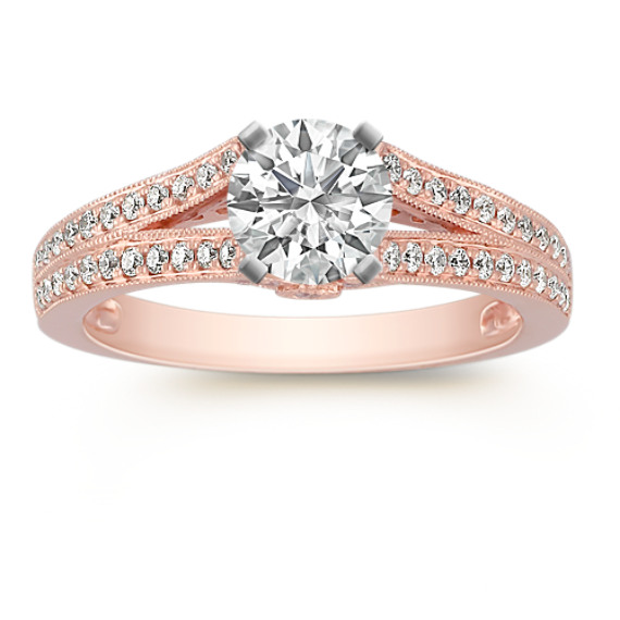 Cathedral Diamond Rose Gold Engagement Ring with Pavé Setting
