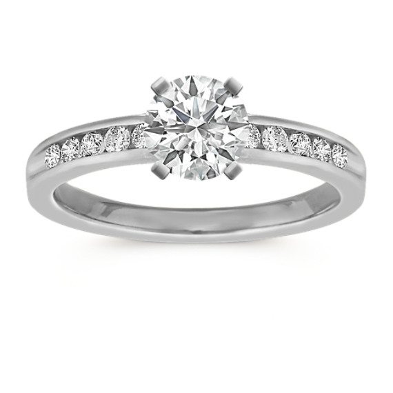 Diamond Platinum Engagement Ring with Channel-Setting