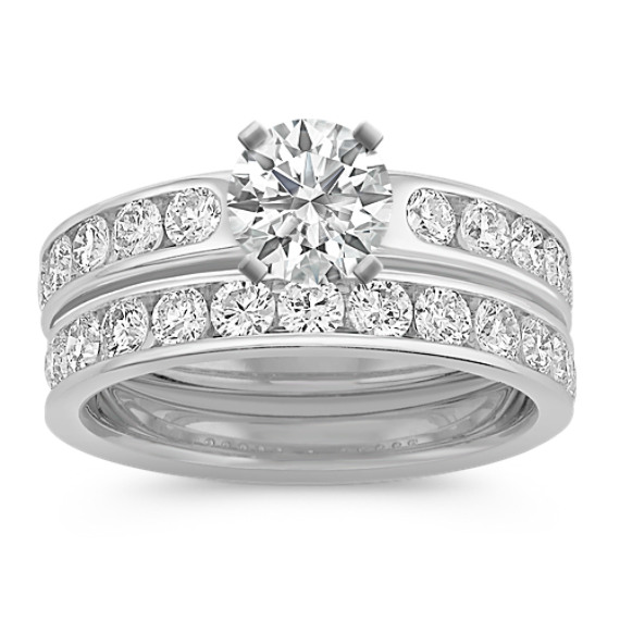 Diamond Platinum Wedding Set with Channel-Setting