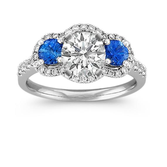 Round Kentucky Blue Sapphire And Diamond Engagement Ring