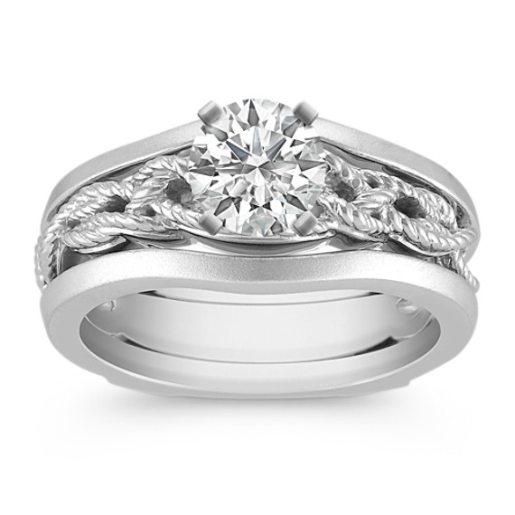 Distinct White Gold Wedding Set