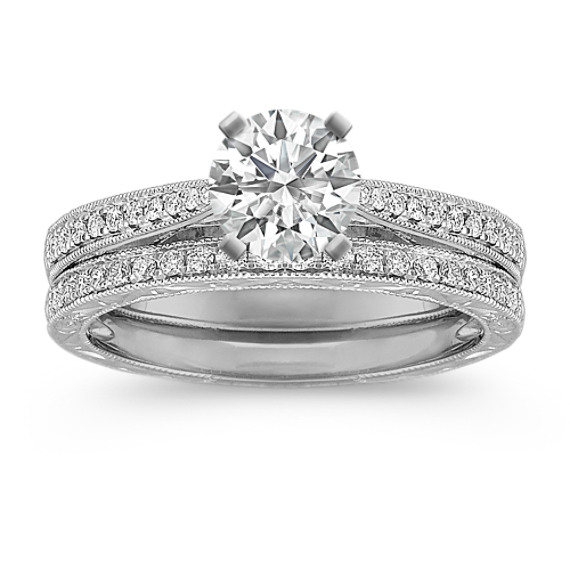 Vintage Cathedral Diamond Wedding Set with Pavé Setting