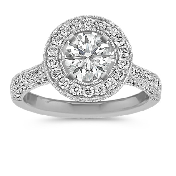 Crown Halo Diamond Engagement Ring with Pavé-Setting