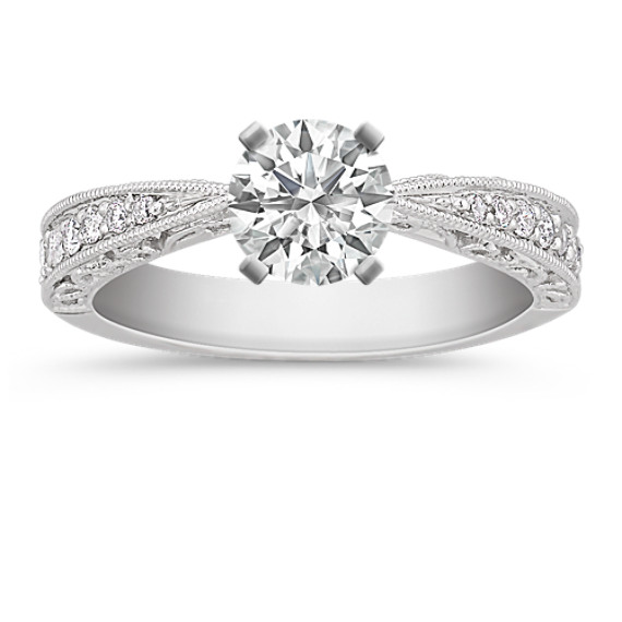 Vintage Diamond Platinum Engagement Ring with Pavé Setting