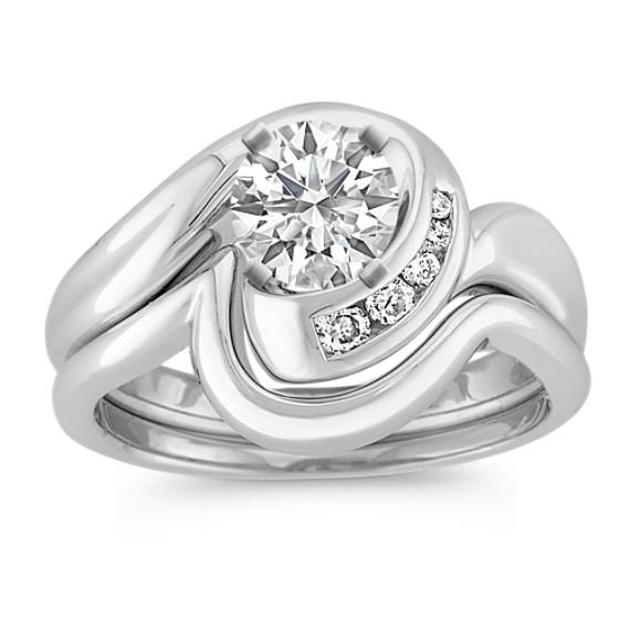 Swirl Diamond Wedding Set with Channel-Setting