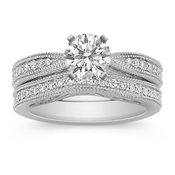 Vintage Cathedral Diamond Platinum Wedding Set