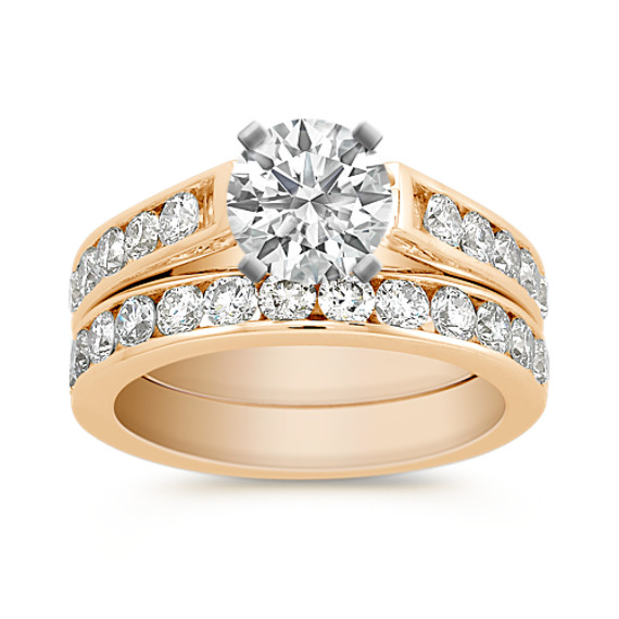 Cathedral Diamond Wedding Set with Channel-Setting