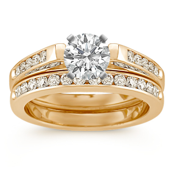 Cathedral Diamond Wedding Set with Channel-Setting in 14k Yellow Gold