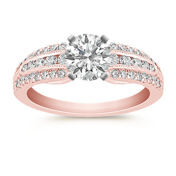 Vintage Diamond Rose Gold Engagement Ring with Channel and Pavé Setting