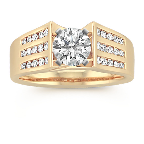 Cathedral Diamond Engagement Ring with Triple Row Channel-Setting