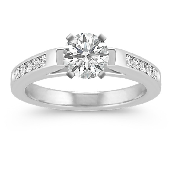 Cathedral Platinum Diamond Engagement Ring with Channel-Setting