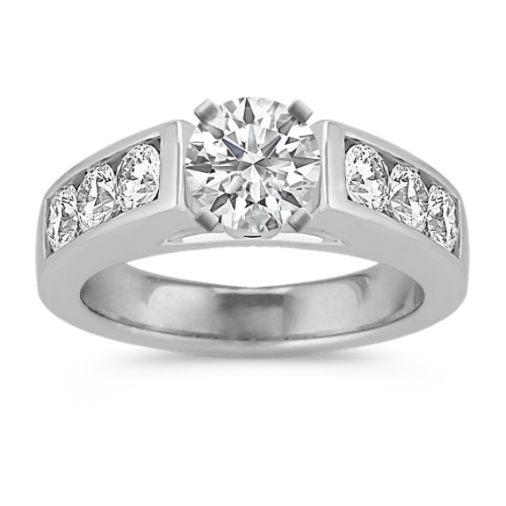 Cathedral Diamond Engagement Ring with Channel-Setting