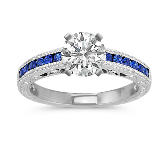 Vintage Sapphire Engagement Ring with Channel-Setting