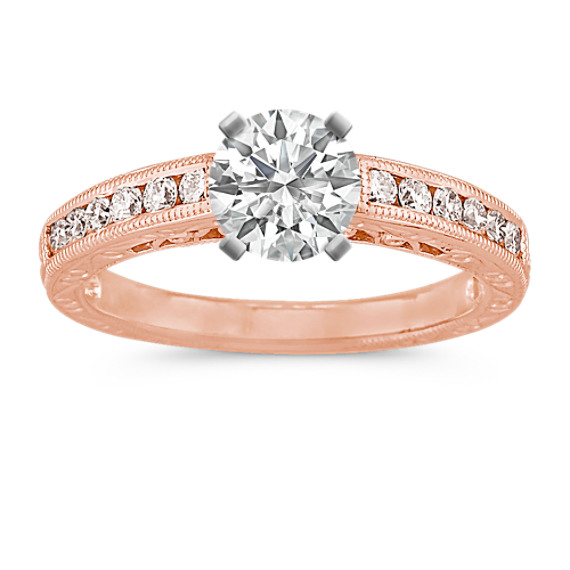 Vintage Diamond Engagement Ring with Channel-Setting in 14k Rose Gold