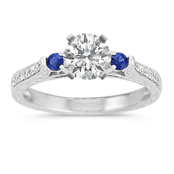 Vintage Round Sapphire and Diamond Platinum Engagement Ring