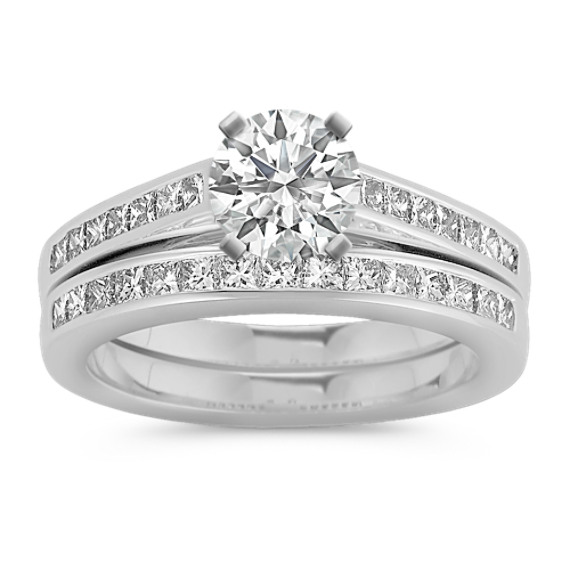 Cathedral Princess Cut Diamond Wedding Set with Channel-Setting