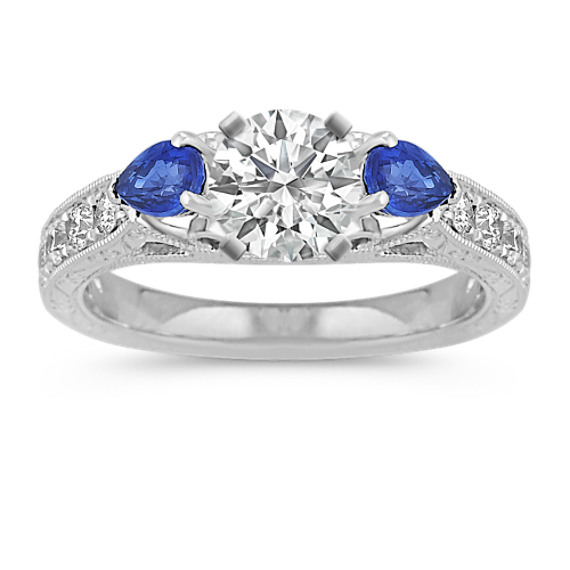 Vintage Pear-Shaped Sapphire and Round Diamond Engagement Ring