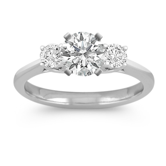 Three-Stone Round Diamond Engagement Ring in White Gold