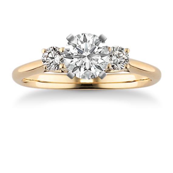Three-Stone Round Diamond Engagement Ring in Yellow Gold
